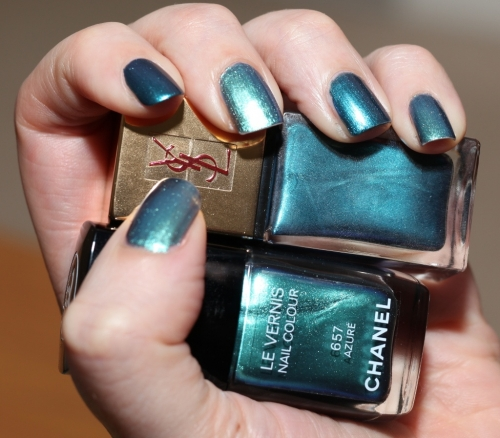 Chanel Azure and Bleu Cosmique swatch
