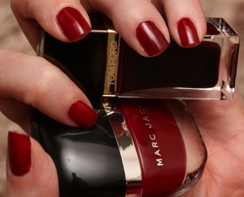 Tom Ford Bordeaux Lust and Marc Jacobs Jezebel swatch