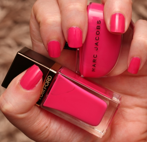 Tom Ford Indian Pink and Marc Jacobs Shocking swatch